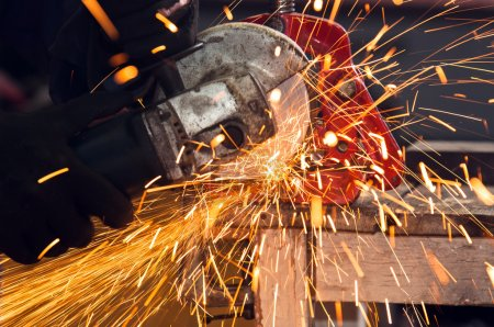 Photo for How to use a circular saw to make beautiful sparks - Royalty Free Image