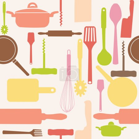 Photo for Seamless pattern of kitchen tools. - Royalty Free Image
