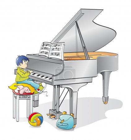 Illustration pour Enfant musicien apprenant à jouer du piano - image libre de droit