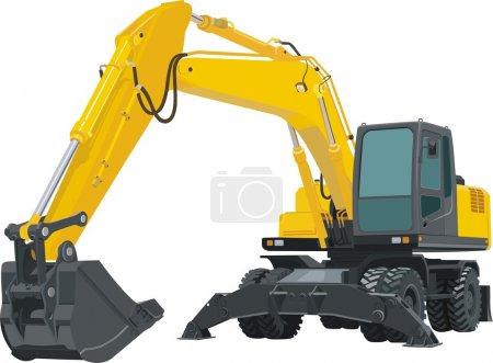 Illustration pour Excavatrice jaune isolée sur fond blanc - image libre de droit