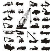Large set of silhouettes of construction equipment