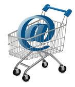 E-mail sign in a shopping cart Internet shopping concept Vector