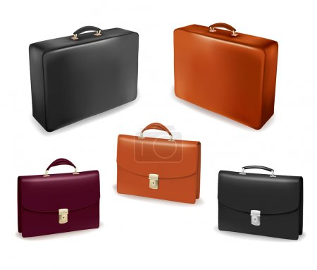 Illustration for Set of bags and briefcases. Vector illustration. - Royalty Free Image
