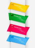 Empty colorful paper tags with pushpins. Vector illustration