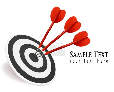 Three darts hitting a target. Success concept. Vector illustration