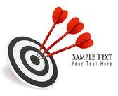 Tři šipky zasáhnout cíl. úspěch koncepce. vektorové ilustrace