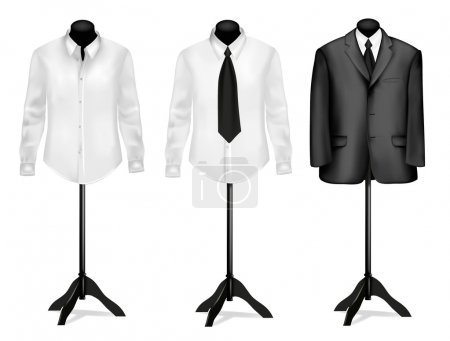 Black suit and white shirt on mannequins. Vector illustration.
