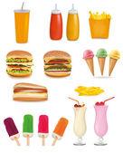 Big set of fast food products Vector illustration