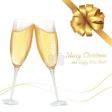Illustration pour Illustration vectorielle. Deux verres de champagne - image libre de droit