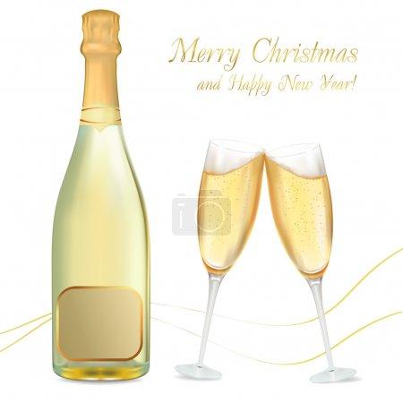 Illustration pour Illustration vectorielle. Deux verres de champagne et bouteille . - image libre de droit
