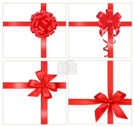 Illustration for Big set of gift bows with ribbons. Vector. - Royalty Free Image