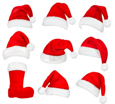 Illustration for Big set of red santa hats and boot. Vector. - Royalty Free Image