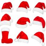 Big set of red santa hats and boot. Vector....