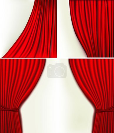 Illustration for Set of backgrounds with red velvet curtain. Vector illustration. - Royalty Free Image