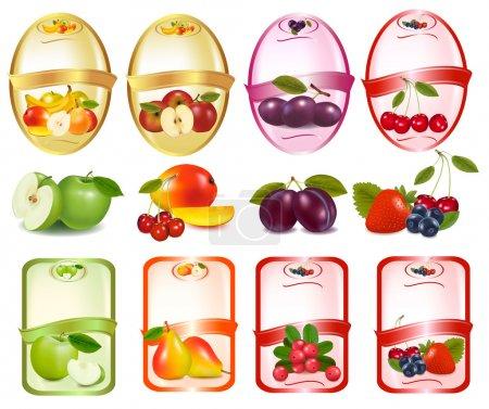 Illustration pour Ensemble d'étiquettes avec baies et fruits . - image libre de droit
