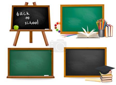 Illustration for Set of school board blackboards. Back to school. - Royalty Free Image