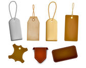 Set of leather labels and tags Vector illustration