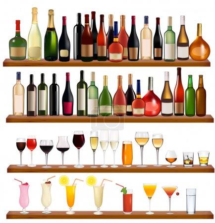 Illustration pour Ensemble de différentes boissons et bouteilles sur le mur. Illustration vectorielle . - image libre de droit