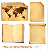 Set of old paper sheets and map Vector illustration