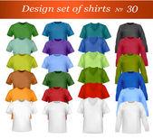 Barevné a bílé muže polo košile a trička. fotorealistické vektorové ilustrace