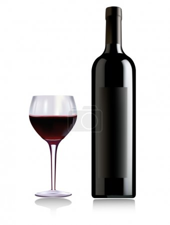 Illustration pour Une bouteille de vin et un verre de vin. Vecteur . - image libre de droit