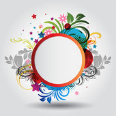 Beautiful vector circle background with floral ornamentation