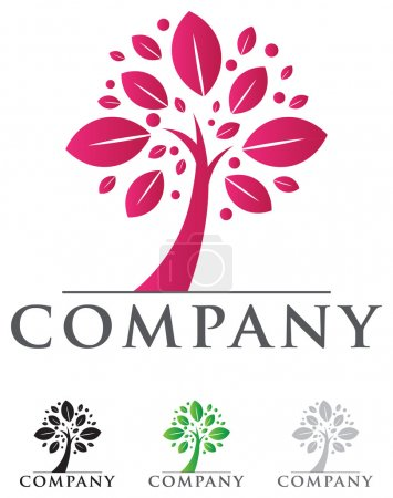 Illustration for Elegant tree icon with sample typography for your business - Royalty Free Image