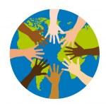 Diversity over world over white background. vector...