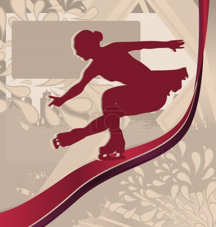 Winter Sports Designed Posters. Figure Skating Silhouette.