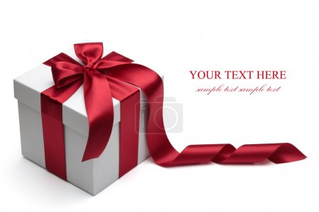 Photo for Gift box with red ribbon and bow isolated on the white background, clipping path included. - Royalty Free Image