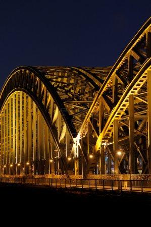 Walk on a night bridge
