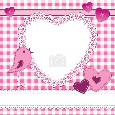 Heart shape frame in a scrapbook style