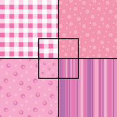 A set of 4 seamless patterns: checkered floral circles and stripes Swatches are provided