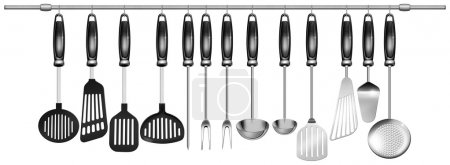 Photo pour Illustration avec 13 ustensiles de cuisine, suspendu à un poteau en acier sur fond blanc - image libre de droit