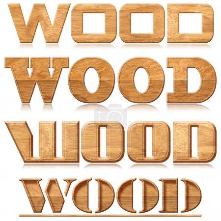 Photo pour Quatre mots « bois » avec la réflexion en matériau bois - image libre de droit