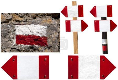 Foto de Cinco señales rojas y blancas para las rutas en Italia - Imagen libre de derechos