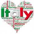 Written Italy and Italian cities with heart-shaped...