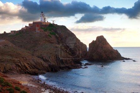 Beautiful landscape with lighthouse near Almería, Cabo de Gata, Spain