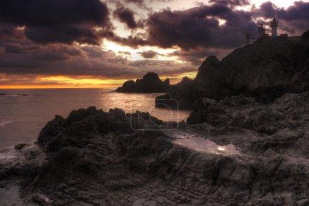 Photo pour Beautiful landscape with lighthouse and rocks near Almería, Cabo de Gata, Spain - image libre de droit