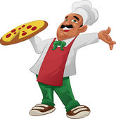 A pizzaiolo carrying a big delicious pizza