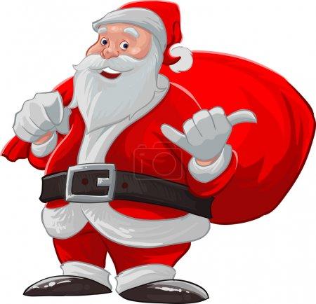 Illustration pour Père Noël claus faire un accrocher lâche et souriant avec son sac - image libre de droit