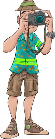 Illustration for Tourist taking a picture, he is wearing with usual tourist clothes - Royalty Free Image