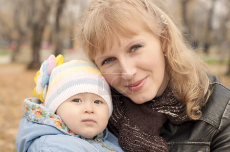 Mom and baby in park