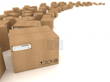 Photo for Cardboard boxes on white background - Royalty Free Image