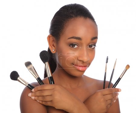 Pretty african american make up artist woman