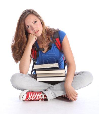 Sad teenage student girl with