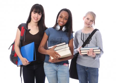 Three teenage ethnic student girls in education