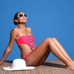 Long legged young african american woman wearing p...