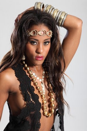 Beautiful young african american glamour model