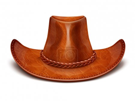 Illustration for Cowboy's leather hat stetson vector illustration isolated on white background EPS10. Transparent objects and opacity masks used for shadows and lights drawing - Royalty Free Image